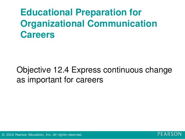 Educational Preparation for Organizational Communication Careers Objective 12.4 Express continuous change as important for...