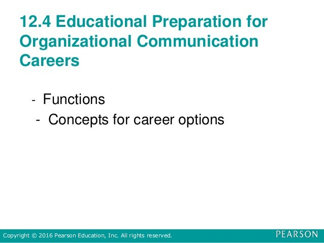 12.4 Educational Preparation for Organizational Communication Careers - Functions - Concepts for career options Copyright ...