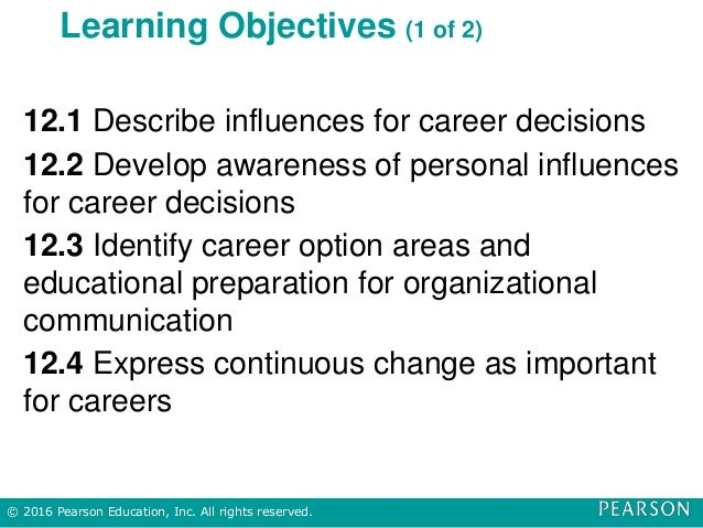 Learning Objectives (1 of 2) 12.1 Describe influences for career decisions 12.2 Develop awareness of personal influences f...