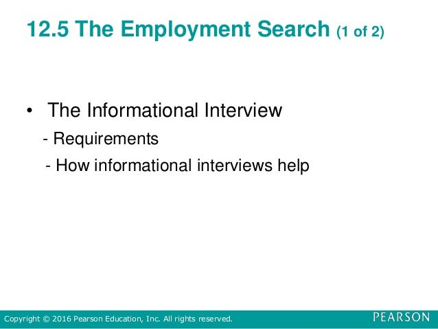 12.5 The Employment Search (1 of 2) • The Informational Interview - Requirements - How informational interviews help Copyr...