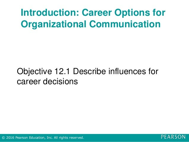 Introduction: Career Options for Organizational Communication Objective 12.1 Describe influences for career decisions © 20...