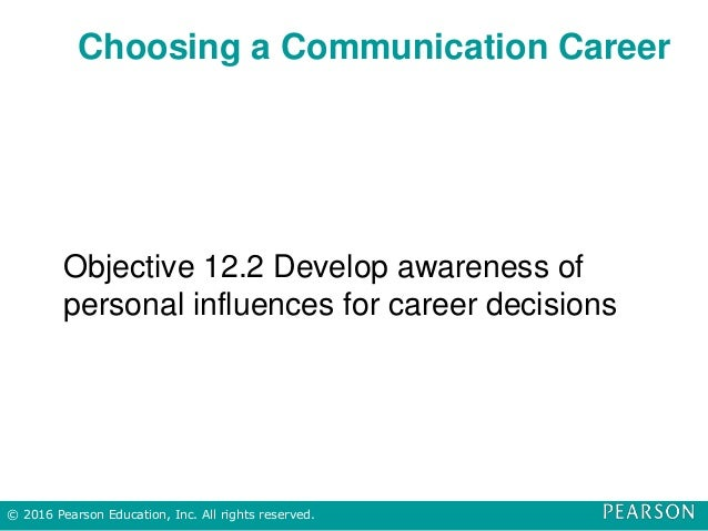 Choosing a Communication Career Objective 12.2 Develop awareness of personal influences for career decisions © 2016 Pearso...