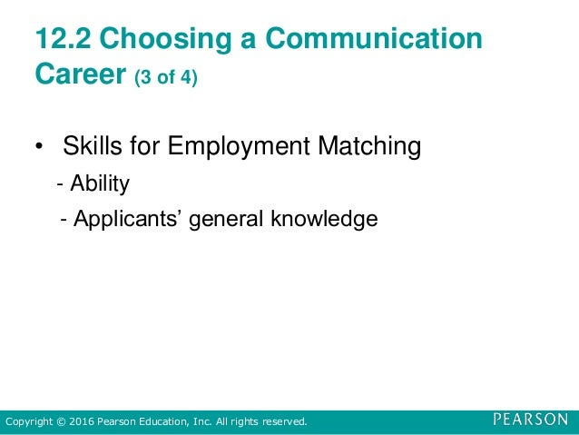 12.2 Choosing a Communication Career (3 of 4) • Skills for Employment Matching - Ability - Applicants' general knowledge C...