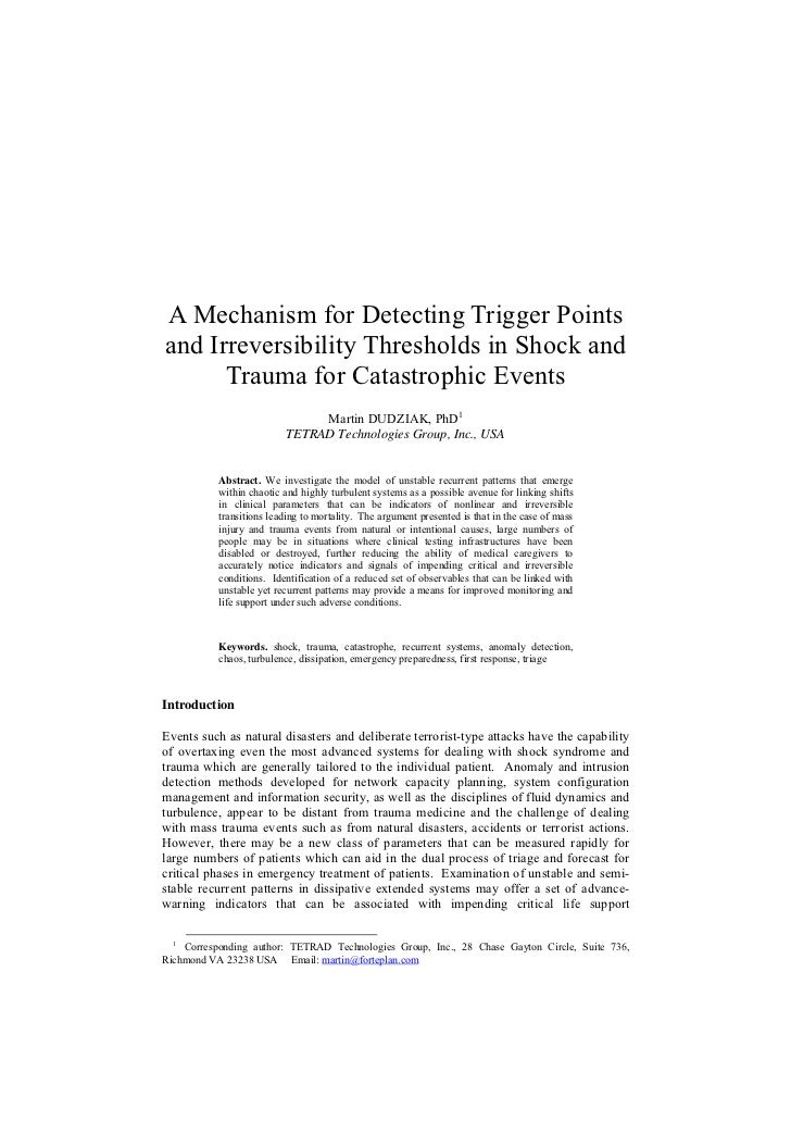 A Mechanism for Detecting Trigger Pointsand Irreversibility Thresholds in Shock and      Trauma for Catastrophic Events   ...