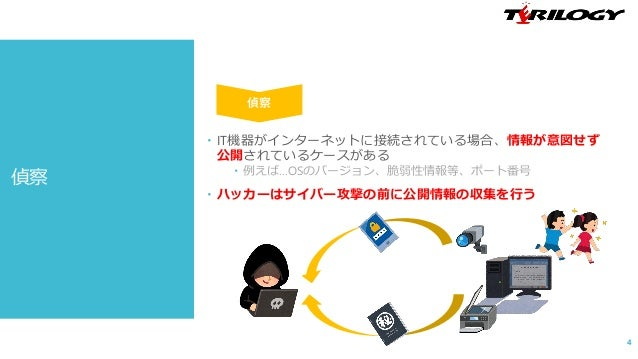 偵察  IT機器がインターネットに接続されている場合、情報が意図せず 公開されているケースがある  例えば…OSのバージョン、脆弱性情報等、ポート番号  ハッカーはサイバー攻撃の前に公開情報の収集を行う 4 偵察