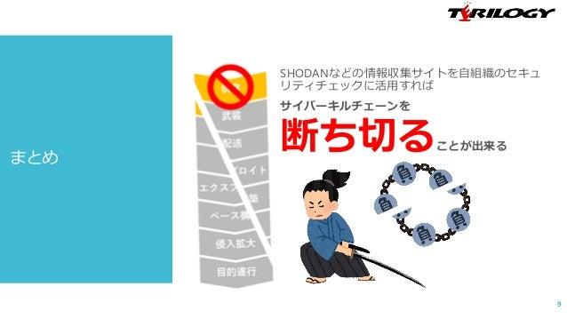 まとめ SHODANなどの情報収集サイトを自組織のセキュ リティチェックに活用すれば サイバーキルチェーンを 断ち切ることが出来る 9
