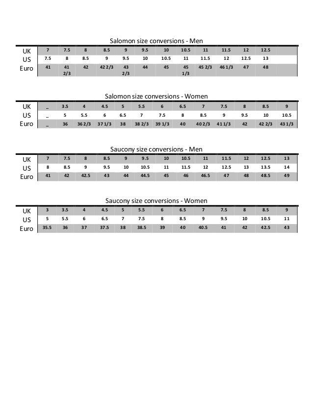 Running Shoe Size Conversion Chart