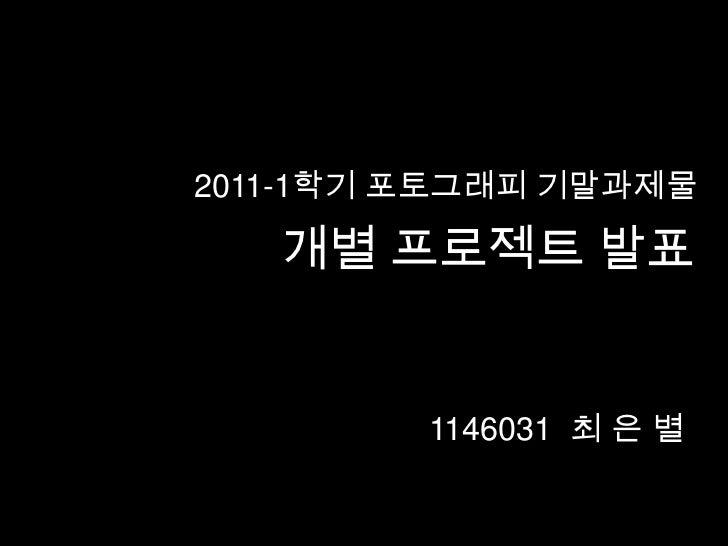 2011-1학기 포토그래피 기말과제물   개별 프로젝트 발표         1146031 최 은 별