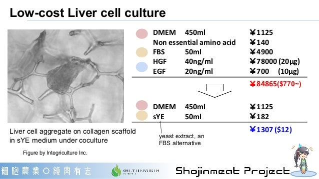 Low-cost Liver cell culture Figure by Integriculture Inc. DMEM  450ml  ¥1125 Non essential amino acid  ¥140 FBS 50ml ¥4900...