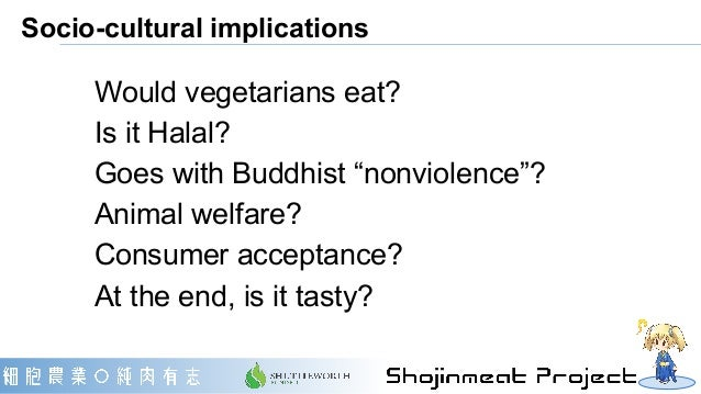 """Socio-cultural implications Would vegetarians eat? Is it Halal? Goes with Buddhist """"nonviolence""""? Animal welfare? Consumer..."""