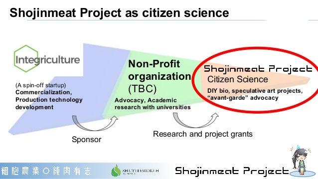 Shojinmeat Project as citizen science Non-Profit organization (TBC) Citizen Science Advocacy, Academic research with unive...