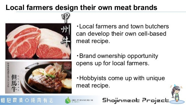 Local farmers design their own meat brands ・Local farmers and town butchers can develop their own cell-based meat recipe. ...