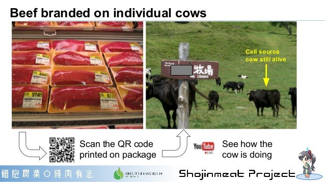 Beef branded on individual cows Cell source cow still alive Scan the QR code printed on package See how the cow is doing