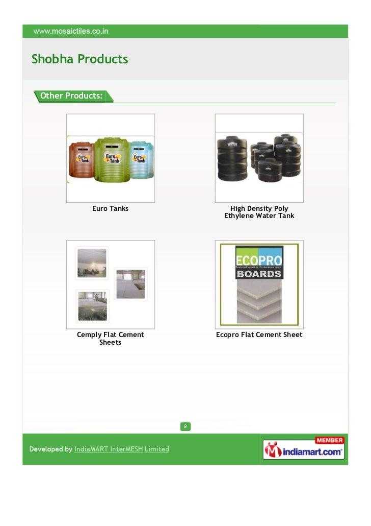 Shobha Products Other Products:             Euro Tanks           High Density Poly                                Ethylene...