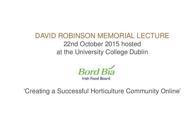 Creating a successful online horticultural community online Slide 2
