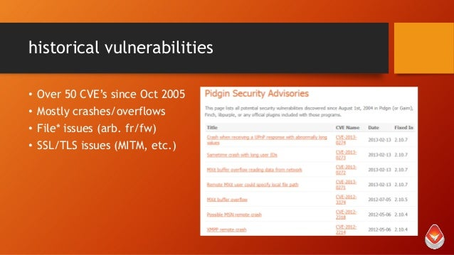 historical vulnerabilities • • • •  Over 50 CVE's since Oct 2005 Mostly crashes/overflows File* issues (arb. fr/fw) SSL/TL...