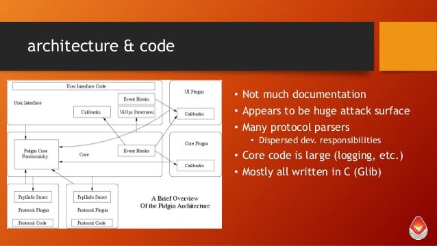 architecture & code • Not much documentation • Appears to be huge attack surface • Many protocol parsers • Dispersed dev. ...