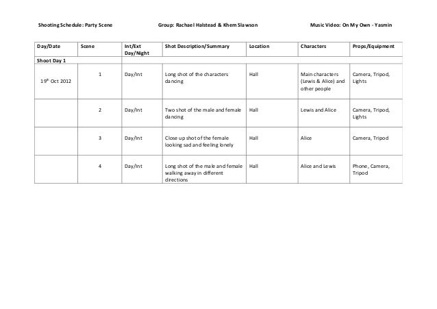 Shooting Schedule: Party Scene               Group: Rachael Halstead & Khem Slawson              Music Video: On My Own - ...
