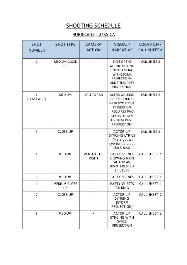 SHOOTING SCHEDULE HURRICANE - JƎSSICΛ SHOT NUMBER SHOT TYPE CAMERA ACTION VISUAL / NARRATIVE LOCATION / CALL SHEET # 1 MED...