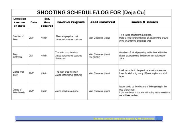 SHOOTING SCHEDULE/LOG FOR [Deja Cu] Location + est no. of shots