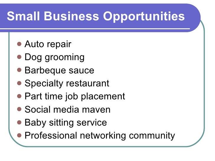 Small Business Opportunities <ul><li>Auto repair </li></ul><ul><li>Dog grooming </li></ul><ul><li>Barbeque sauce </li></ul...