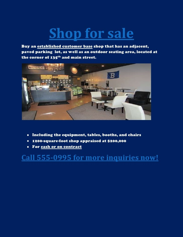 Shop for sale<br />Buy an established customer base shop that has an adjacent, paved parking  lot, as well as an outdoor s...