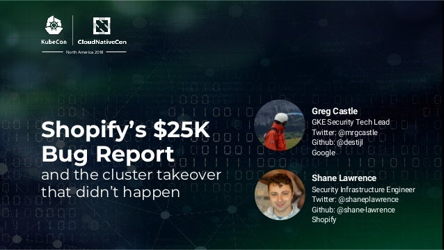 Shopify's $25K Bug Report and the cluster takeover that didn't happen Shane Lawrence Security Infrastructure Engineer Twit...