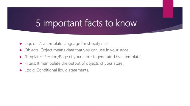Shopify An ECommerce PPT - Shopify template language