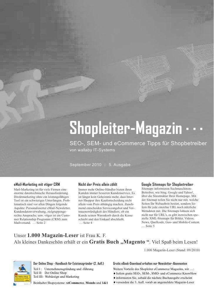 Shopleiter Magazin Nr. 5 - SEO-, SEM- und eCommerce-Tipps