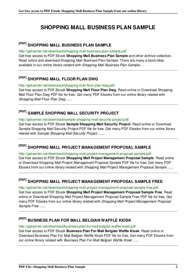 Project Proposal Pdf. 2 Shopping Mall-Business-Plan-Sample School