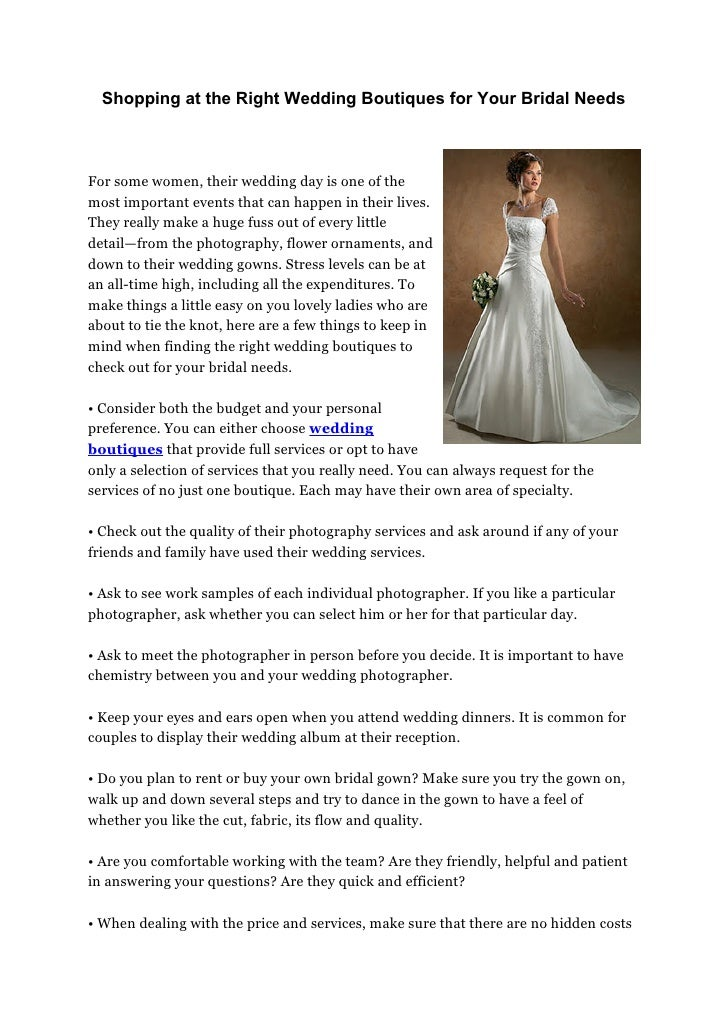 308291c4fb1 Shopping at the Right Wedding Boutiques for Your Bridal NeedsFor some  women