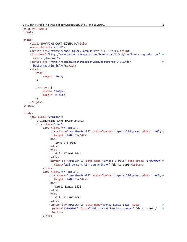 Shopping Cart Example Html Javascript
