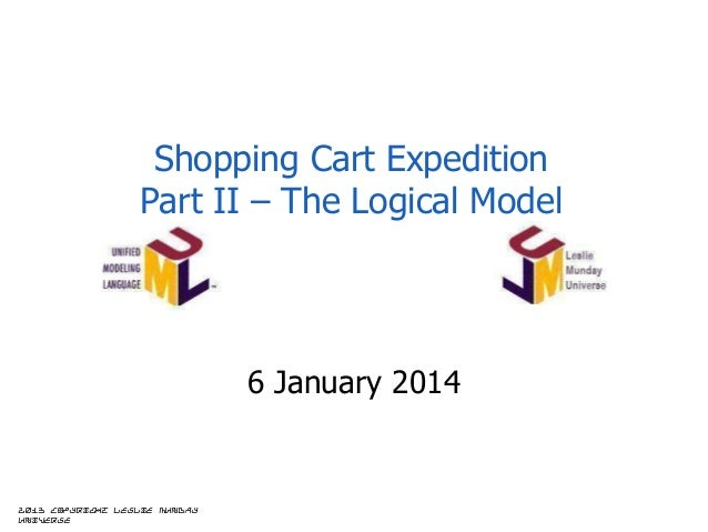 Shopping Cart Expedition Part II – The Logical Model  6 January 2014  2013 copyright Leslie Munday Universe