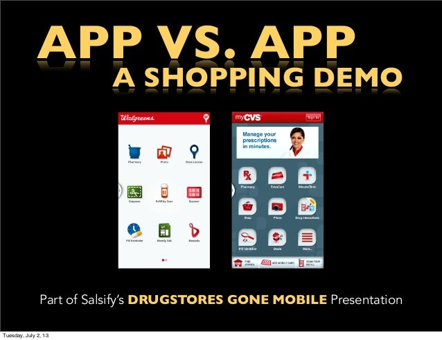 APP VS. APP A SHOPPING DEMO Part of Salsify's DRUGSTORES GONE MOBILE Presentation Tuesday, July 2, 13