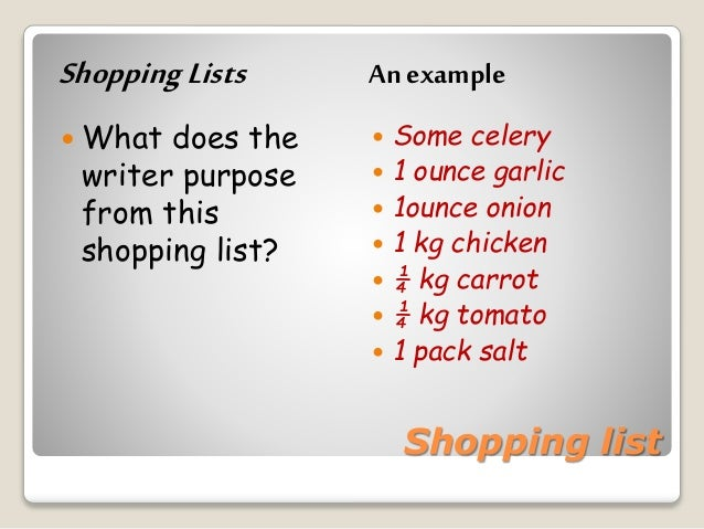 Shopping List N Announcement