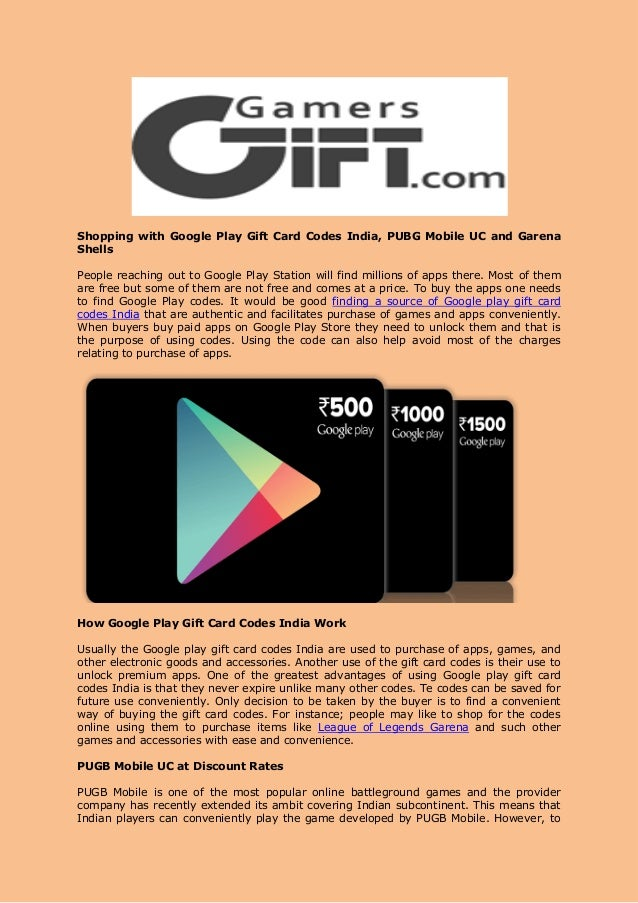 Shopping with google play gift card codes india, pubg mobile