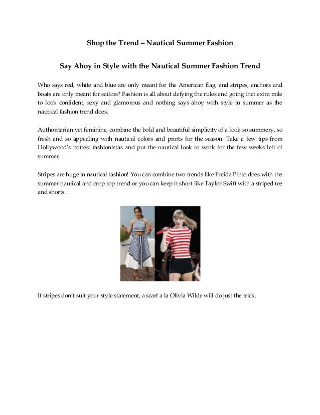 Shop the Trend – Nautical Summer Fashion Say Ahoy in Style with the Nautical Summer Fashion Trend Who says red, white and ...