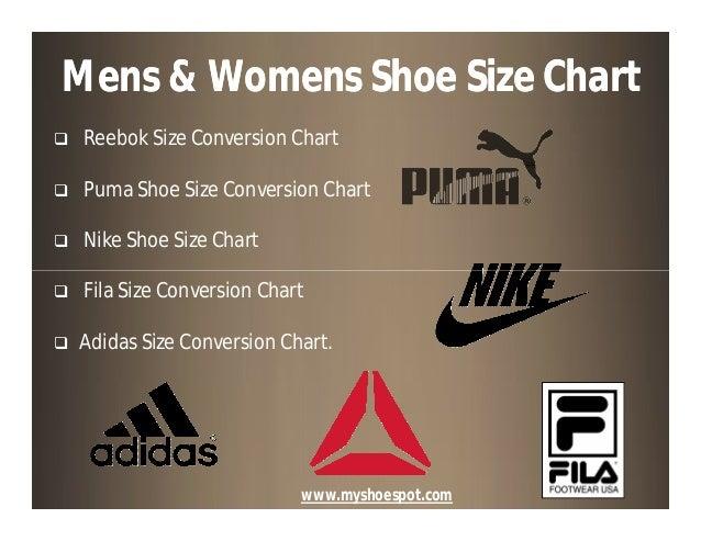 fila shoe size chart