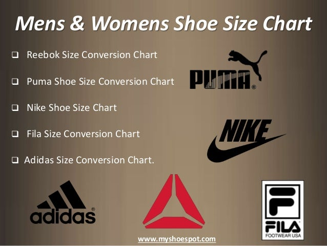 ... 3. Mens & Womens Shoe Size Chart ...
