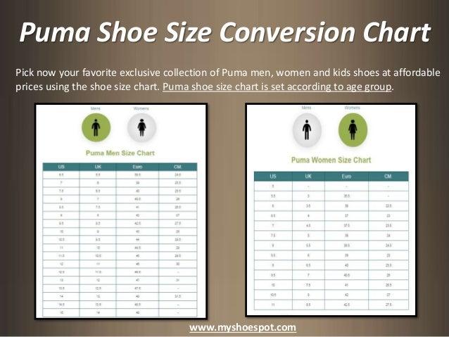 Puma Shoes Size Chart