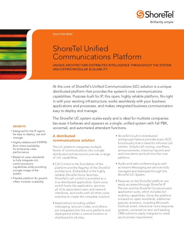 SOLUTION BRIEF                                 ShoreTel Unified                                 Communications Platform   ...