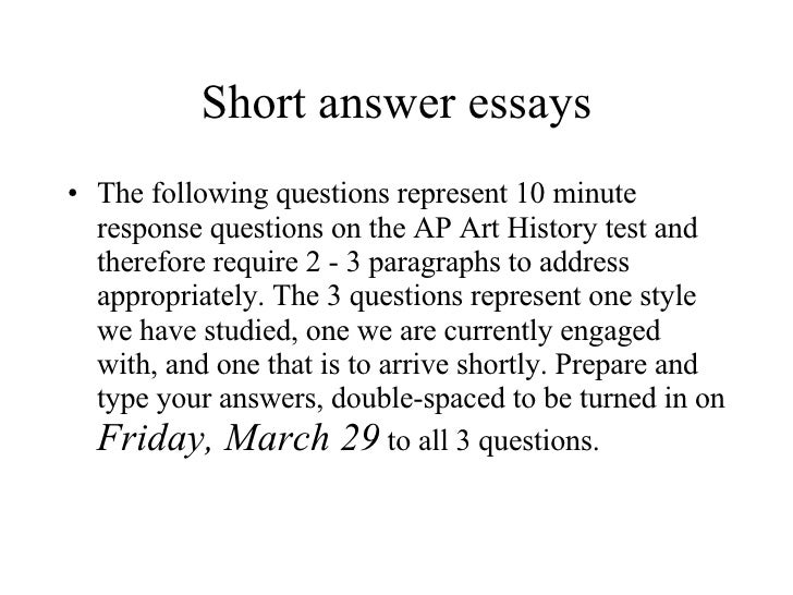 Short answer essay instructions