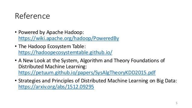 Short introduction to ML frameworks on Hadoop