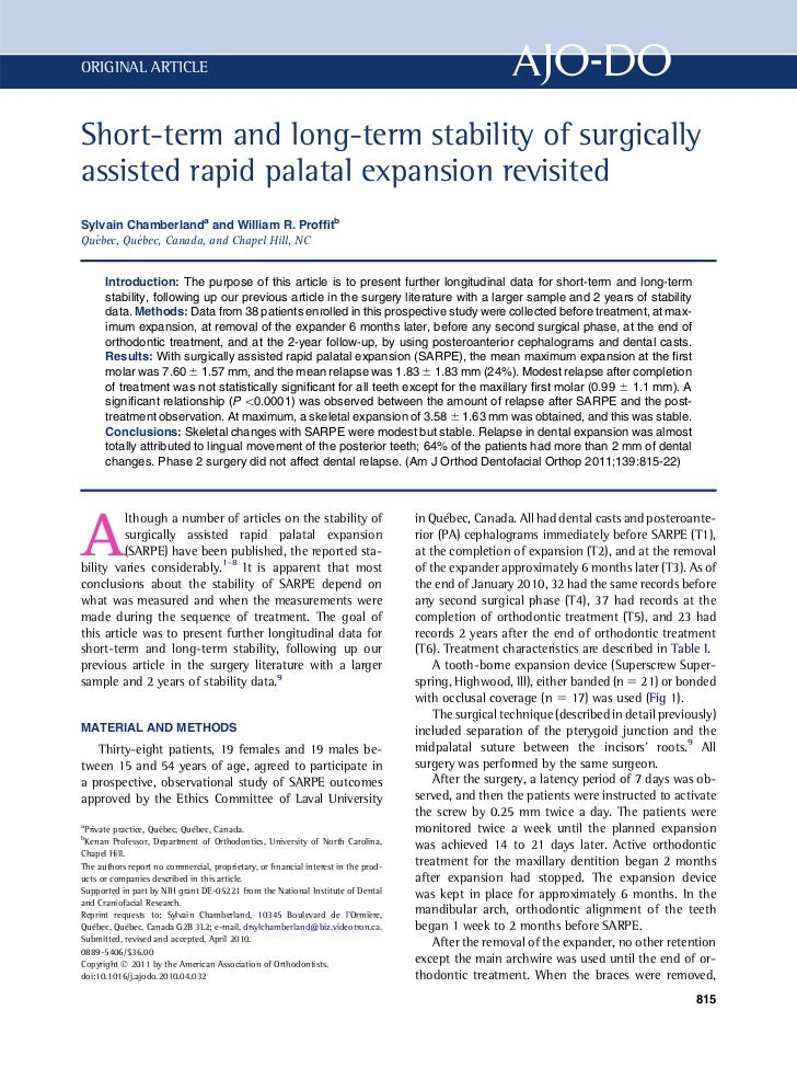 ORIGINAL ARTICLEShort-term and long-term stability of surgicallyassisted rapid palatal expansion revisitedSylvain Chamberl...