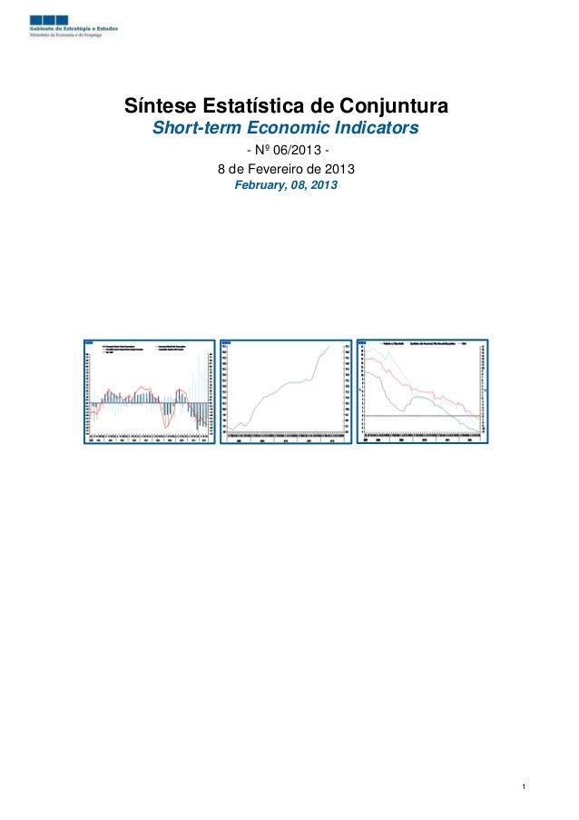 Síntese Estatística de Conjuntura  Short-term Economic Indicators              - Nº 06/2013 -         8 de Fevereiro de 20...