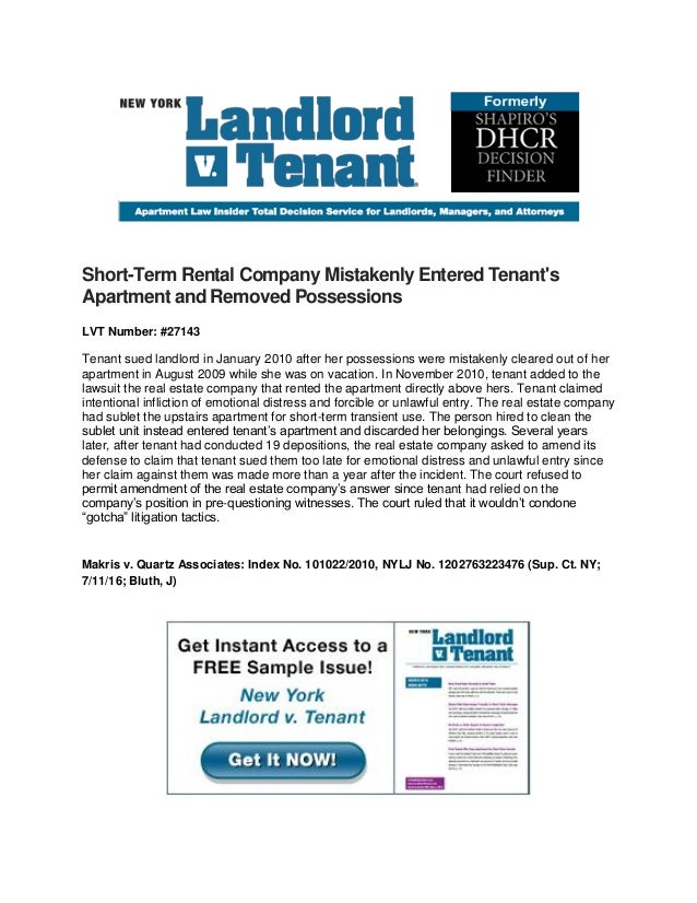 Short-Term Rental Company Mistakenly Entered Tenant's Apartment and Removed Possessions LVT Number: #27143 Tenant sued lan...