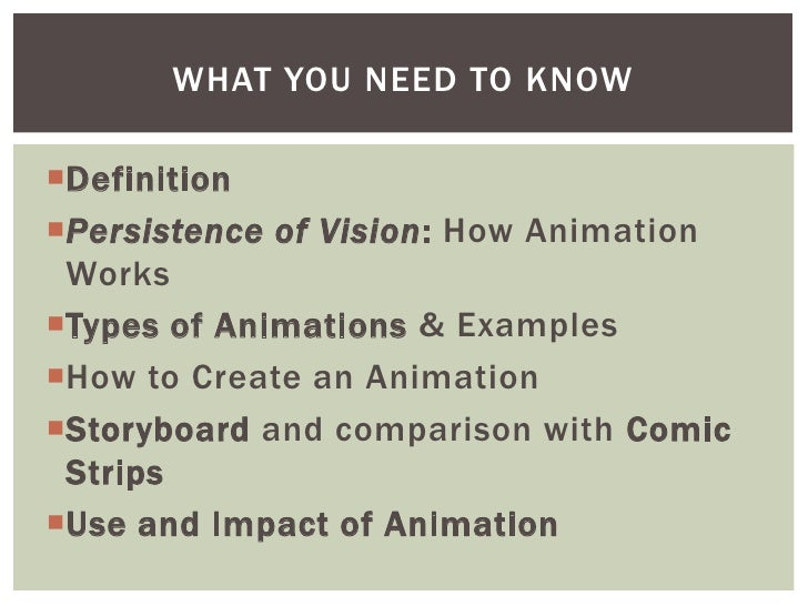 """A DEFINITION…Animation is the creation of the """"illusion of movement"""" using a series of still images"""