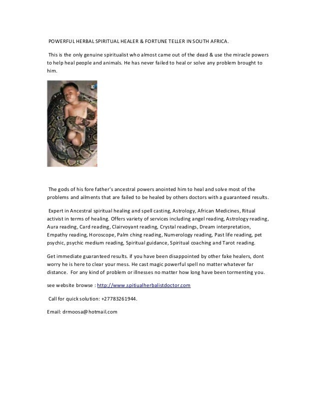 Traditional healer with Short advert