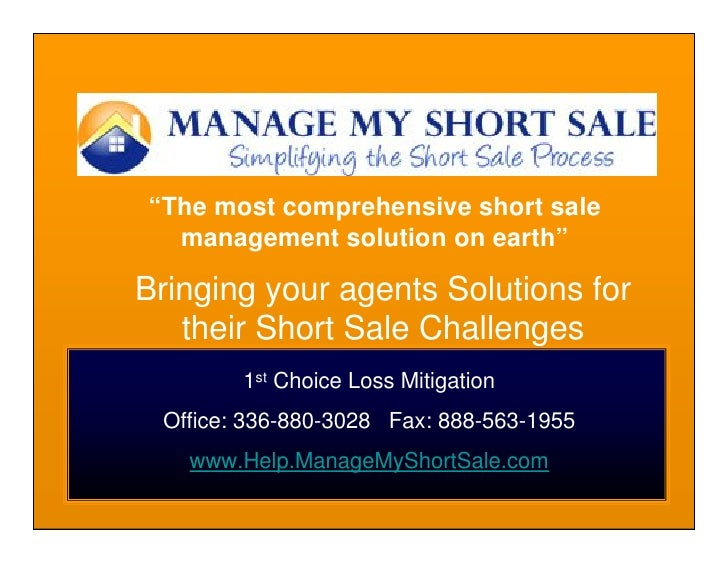 """The most comprehensive short sale   management solution on earth""  Bringing your agents Solutions for    their Short Sale..."