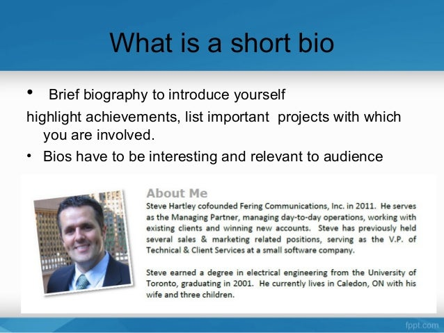 how to write a short bio about yourself examples